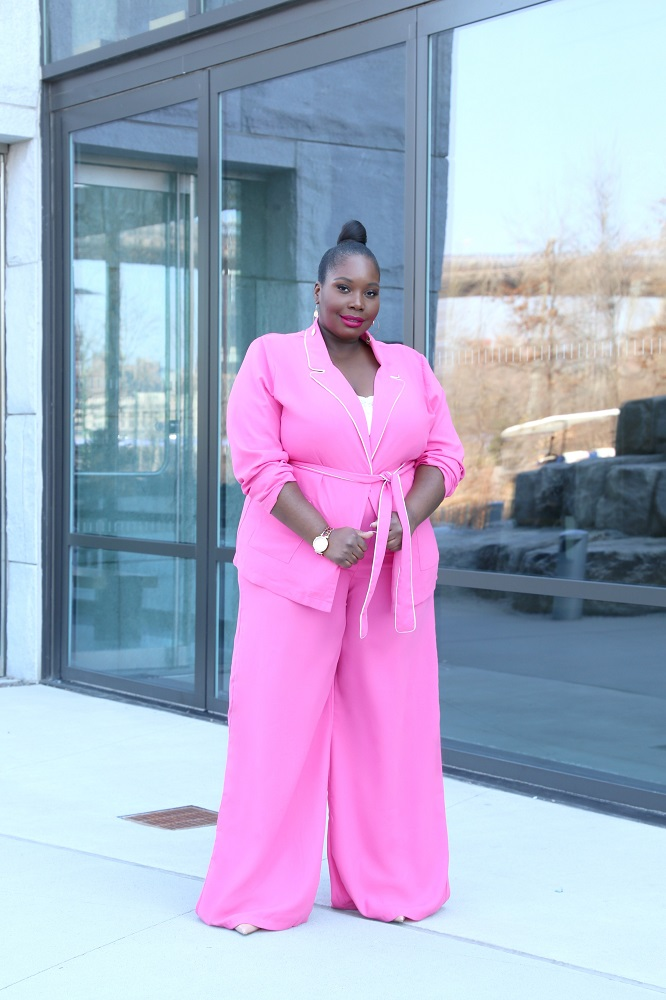pretty little think belted wide leg suit in plus size curve